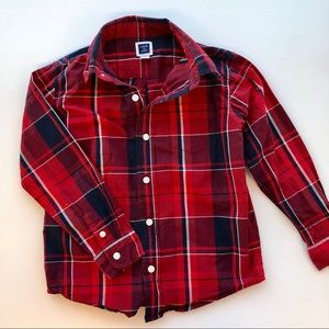 Dark Blue & Red Plaid Toddler Button Down Shirt